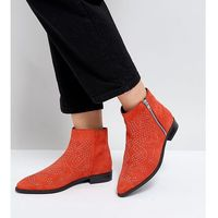 auto pilot wide fit suede studded ankle boots - red marki Asos