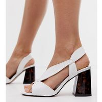 wide fit block sandals with crossover strap in white - white marki River island
