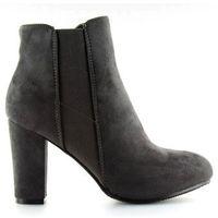 Buty obuwie damskie Botki ocieplane na obcasie szare h706 grey