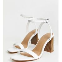 Asos design wide fit hong kong barely there block heeled sandals in white - white