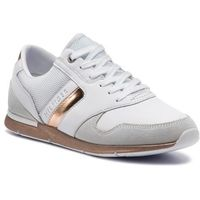 Sneakersy TOMMY HILFIGER - Iridescent Light Sneaker FW0FW04100 White/Rosegold 901