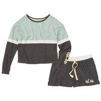 Piżama z krótkimi spodniami bonprix antracytowy melanż - miętowy z nadrukiem