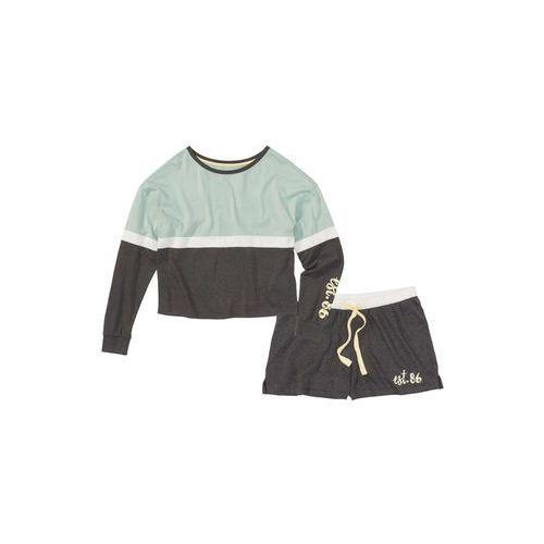 Piżama z krótkimi spodniami bonprix antracytowy melanż - miętowy z nadrukiem, kolor szary
