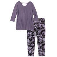 Piżama z legginsami 3/4 lila z nadrukiem, Bonprix, S-XXXXL