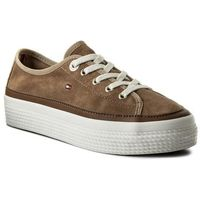 Sneakersy TOMMY HILFIGER - Suede Flatform Sneaker FW0FW02679 Desert Sand 932, kolor brązowy