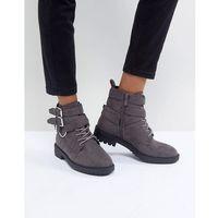 RAID Helena Grey Multi Buckle Grunge Flat Ankle Boots - Grey