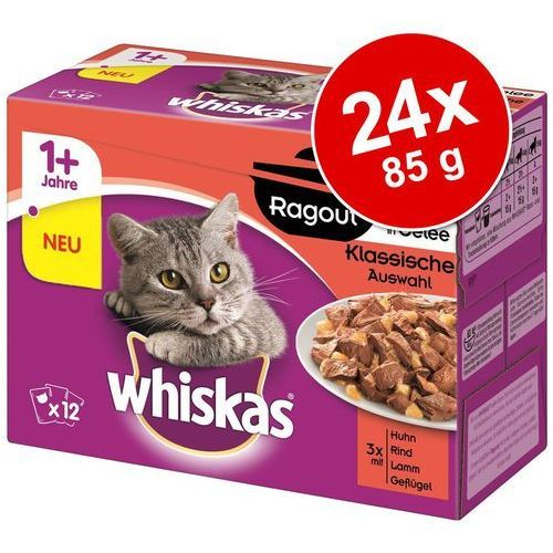 Whiskas Ragout, 24 x 85 g - Wybór drobiowy w galarecie (3065890133822)