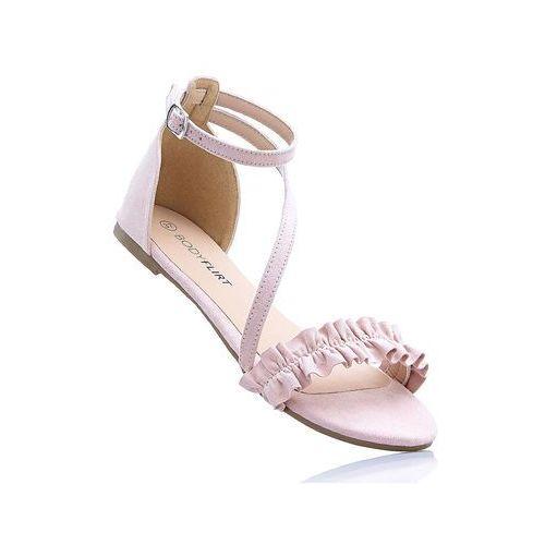 Sandały z falbanką stary róż marki Bonprix