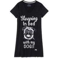 Koszula nocna bonprix czarny z nadrukiem, bawełna