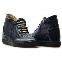 Sneakersy 1008 granatowe lico+ lakier marki Veronna