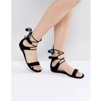 mckeague lace up pom pom sandals - black, Call it spring