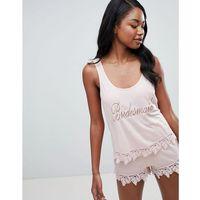 design bridal bridesmaid vest and short pyjama with lace trim - pink, Asos