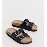 New Look wide fit buckle detail footbed sandal in black - Black