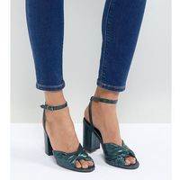 shimmer knot block heel sandal - blue, New look