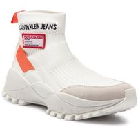 Sneakersy jeans - tysha r7812 bright white/orangea marki Calvin klein