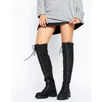 Asos kobus lace up over the knee boots - black, Asos design