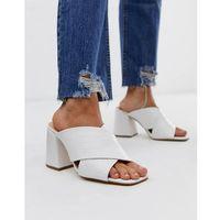 Office mansion white croc chunky block heel sandals - white