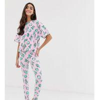 Asos design tall stripe cactus legging pyjama set - multi, Asos tall