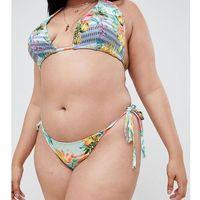 Asos design curve tie side bikini bottom in cuban stripe print - multi marki Asos curve
