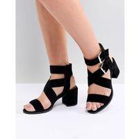 Office Miles Black Suede Buckle Block Heeled Sandals - Black