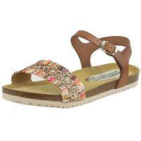 Sandały letnie Vogue Carla Camel Płaska podeszwa Licowa, kolor brązowy