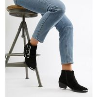Asos design rhyme wide fit western ankle boots - black
