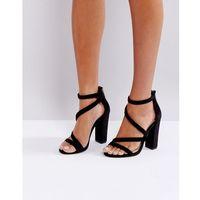 Miss kg asymmetric block heeled velvet sandal - black