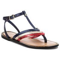 Japonki TOMMY HILFIGER - Corporate Flat T-Bar Sandal FW0FW02818 Rwb 020, kolor wielokolorowy