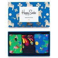 Zestaw 3 par wysokich skarpet unisex - xswe08-6000 kolorowy, Happy socks