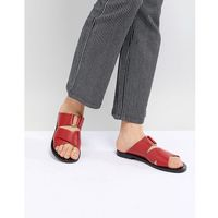 Pull&bear leather cross strap flat sandal in red - red