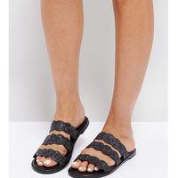 The March Black Splatter Print Triple Strap Flat Sandals - Black, kolor czarny