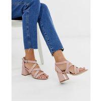 block heel sandal in pink croc effect - pink, New look