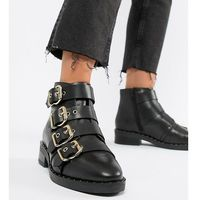 avid wide fit leather studded ankle boots - black marki Asos design