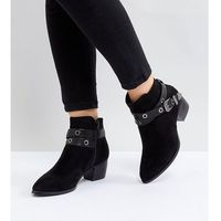 Truffle Collection Wide Fit Heeled Ankle Boots - Black, kolor czarny