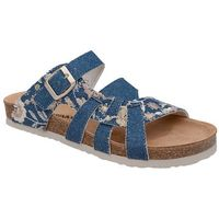 Klapki Dr Brinkmann 701142-5 Jeans Niebieskie Kwiaty Bleu Naturform - Jeans ||Niebieski ||Kwiaty Flower, kolor niebieski