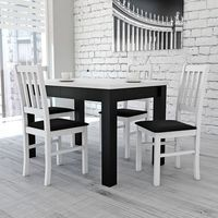 Klasyczna biel z czernią stół 80/120/200 + 4 krzesła marki Sandow