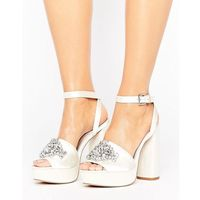 hollywood bridal embellished platform sandals - cream, Asos
