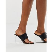 clear mule wedge heeled sandals - black, Truffle collection
