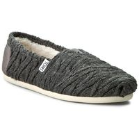 Półbuty TOMS - Classic 10008929 Forged Iron Grey Cable Knit With Shearling, kolor szary