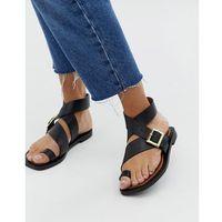 Office Serenity black leather flat toe loop sandals - Black
