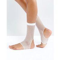 stirrup fishnet ankle socks in white - white, Asos