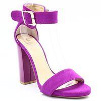 2661 fuksja - sandały na słupku, skóra - różowy ||fioletowy marki Tymoteo