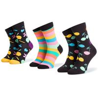 Zestaw 3 par wysokich skarpet damskich - xbda08-7300 czarny kolorowy marki Happy socks