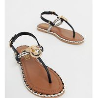 River Island toe post sandals with gold detail in black - Black, kolor czarny