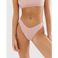 exclusive crinkle high leg bikini bottom in light pink - pink, Boohoo