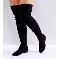 ASOS KASBA Wide Fit Flat Over The Knee Boots - Black, kolor czarny
