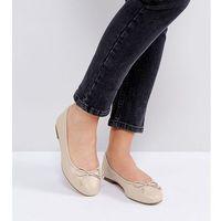 ASOS LIFESAVER Wide Fit Leather Ballet Flats - Beige