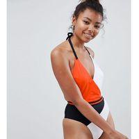 Free society orange crossed colourblock swimsuit - multi