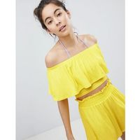 Monki Cropped Frill Bardot Beach Top - Yellow