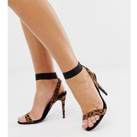 New look wide fit heeled sandals in leopard - black